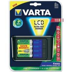 Varta Batterij Lcd Ultra Fast Lader +4aa2400&12v